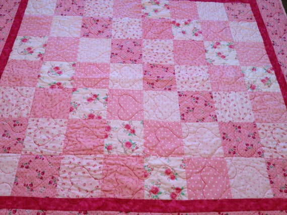 Handmade Breast Cancer Awareness Pink Ribbon Quilt