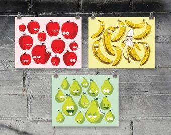 "Bad Fruit screenprinted art prints - set of three 10"" x 8"" prints"