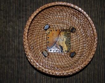 "Pine Needle Basket ""Spalted Tamarind Square"""
