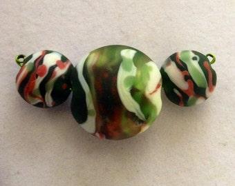 Lentil bead set, green lentil beads, set of 3, handmade, lampwork beads