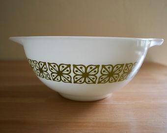 Vintage Pyrex Verde Square Flower Cinderella Mixing Bowl #442