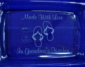 Gift For Grandma.  Engraved Pan. Engraved Pyrex. Personalized Pan. Gift For Mom.  Grandma Gift. Christmas Gift.  Wedding Gift. Cook Gift.