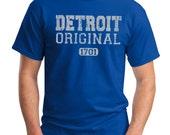 Detroit Lions Original 1701 Screen Print T-Shirt Royal Shirt, Sizes S-5XL Great Gift for Lions Fans!