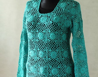 Crochet lace blouse handmade blouse crochet from Poland