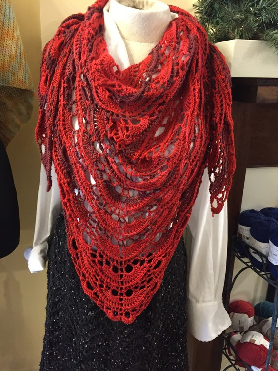 Red Yes Yes Shawl