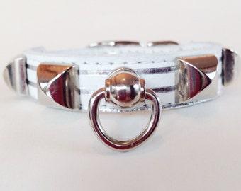 XXS Handcrafted White Leather Silver Metallic Stripe Silver Pyramid Studs Dog Collar