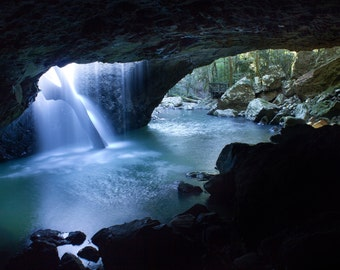 Waterfall in Cave, Natural Arch, Springbrook National Park, Queensland, Australia