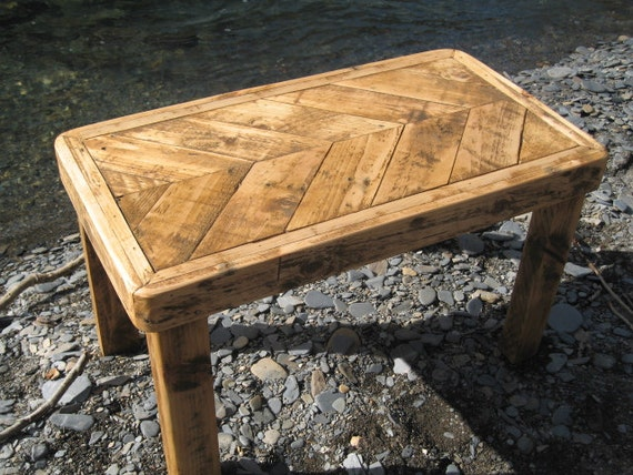 Upcycled Reclaimed Pallet Herringbone Coffee Table