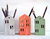Teacher Appreciation Gift-Teacher Gift-Ceramic House-End of year teacher gift-Office-Desk-Pencil Holder