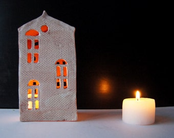 Mantle Decor-Candle Holder-Ceramic House-Candle Centerpiece-Tea Light Holder-Anniversary Gift
