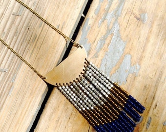 Beaded bib ombre fringe boho necklace handmade in blue, silver, and gold.
