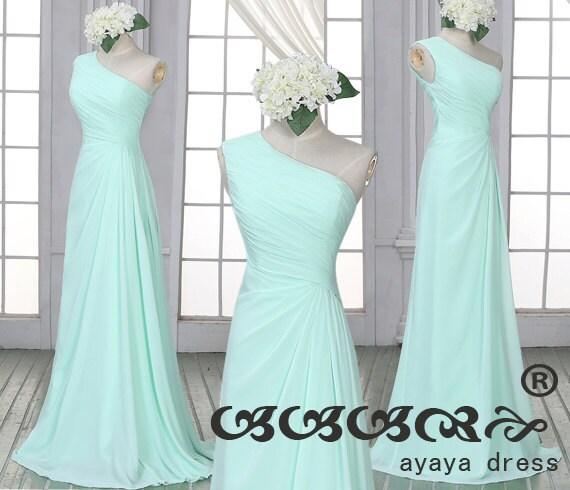 Mint Green Bridesmaid Dressone Shoulder Bridesmaid By