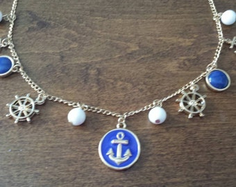 """Nautical Anchor Charm Necklace 19"""" Gold Colored"""