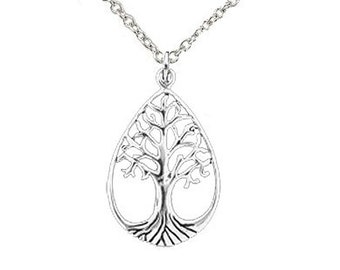 Sterling Silver Tear Drop Tree of Life Pendant  (P1053)