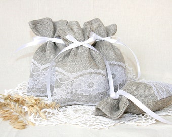 linen favor bags, wedding gift bags, natural rustic bags, rustic gift bags, Country wedding, Burlap wedding, Candy Bag, Baptism favor bags