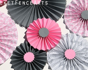 Pink and Gray Paper Rosettes, Paper Fans Backdrop, Pink and Gray Nursery, Pink and Gray Baby Shower, Set of 8