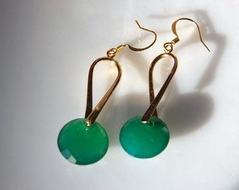 Round Faceted Green Onyx Gemstone and Gold Dangle Earrings with Fish Hooks