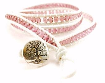 Pink Beaded Bracelet; Pink Wrap Bracelet; Baby Pink Bracelet, Pink Bead Bracelet; Tree of Life Bracelet; Pink Handmade Bracelet