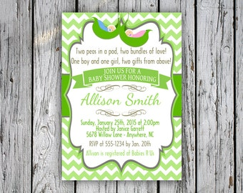 Twins Baby Shower Invitation - Two Peas in a Pod Baby Shower Invite - Chevron - Green - Digital File - Print Yourself