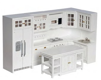1:12 Scale Premium Kitchen Collection (White/Oak/Walnut/Marble Tops)