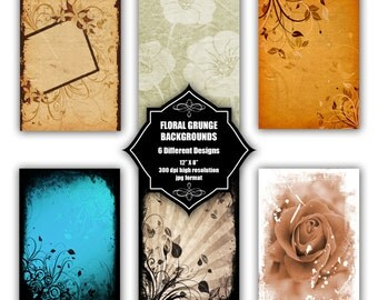 INSTANT DOWNLOAD - Collection of digital backgrounds with 6 different floral grunge designs