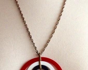 Retro Red,White,and Blue Mod Circle Pendant