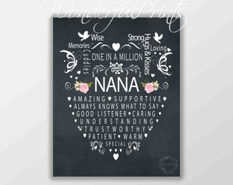 Instant Download // Printable // 8x10 // Word Art // Mothers Day Gift // Birthday Gift // for NANA // For Grandma // Wall Art // Chalkboard