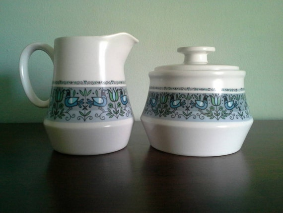Noritake Felicity Cream and Sugar Set, Mid Century Bird Pattern in blue, green, grey