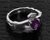 White Gold Claddagh Ring w/ CZ Alexandrite & Diamonds, Diamond Claddagh Ring, Claddagh Alexandrite Ring, Natural Alexandrite Ring