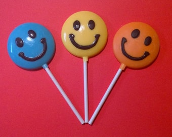 12 Chocolate Smiley Face Lollipops