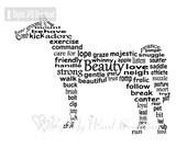 Horse Art, Pet Art, Horse Word Art, Horse Keepsake, Personalized Word Art Typography, PRINTABLE DIGITAL FILE