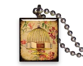 Vintage Golden Decorative Bird Cage - Reclaimed Scrabble Tile Pendant Necklace