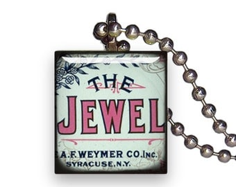 Vintage Sign The Jewel Old Fashioned - Reclaimed Scrabble Tile Pendant Necklace