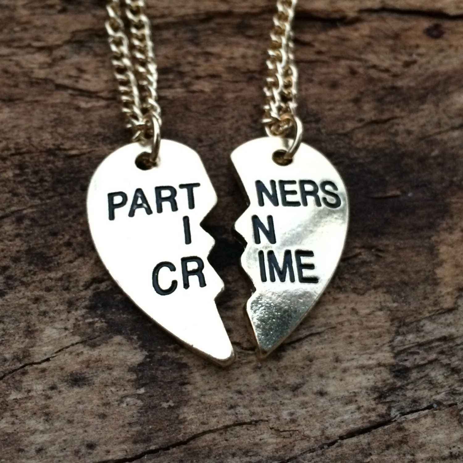 gold partners in crime necklace best friend by tinksbyjustine
