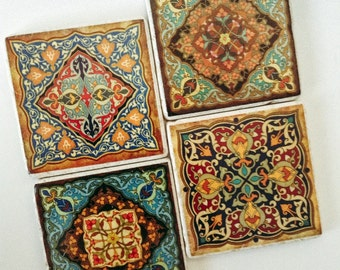 Moroccan Coasters - Natural Stone - Exotic Style - Home Decor - Set of 4
