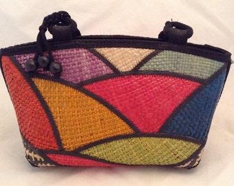 Vtg Block Print Raffia Bag!