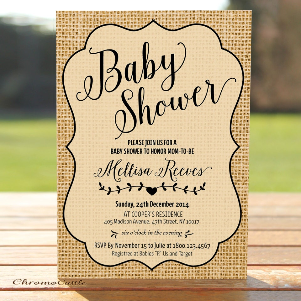 baby shower invitation on burlap printable invite by chromopaperie
