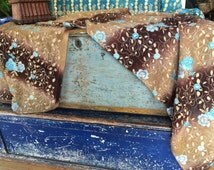 Beautiful Extra Large Vintage Indian Scarf - Brown Ombre with Aqua & Copper Embroidery