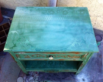 SOLD - Vintage Nightstand, antique side table, shabby chic table, french cottage, farmhouse, paris apartment, painted green, lace end table