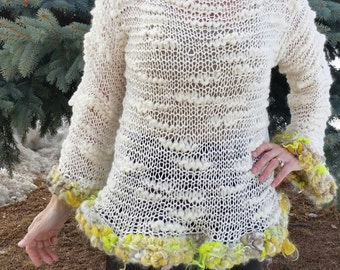 Hand Knit Pullover in Creamy Bamboo and HandSpun Trim