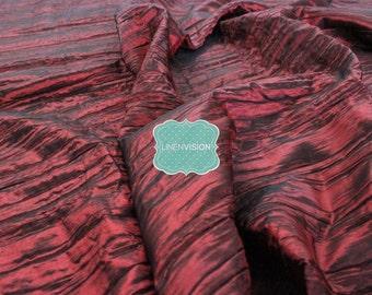 "Fabric by the Yard - Crushed Taffeta Fabric - Polyester 54"" Wide Crushed Accordian Taffeta Fabric - Burgundy"