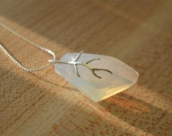 White Opal Swarovski Necklace, Bridal Necklace, White Swarovski Crystal Necklace, Swarovski Galactic Necklace,Swarovski Jewelry