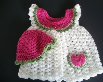 Crochet Angel Wing Pinafore Sweater Watermelon Set, READY TO SHIP,  Handmade Girl Size 18 months