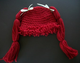 Crochet Red Headed Cabbage Patch Hat, Handmade, Ready to Ship, Costume, Photo Prop, Girls, Size 6-9 Months  Crochet