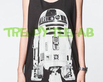 R2-D2 Tank Top R2D2 Star Wars Black Women Singlet Shirt T-Shirt Unisex Vest Size S , M , L