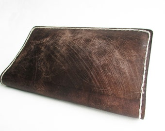 Leather checkbook cover wallet Hand stitched and dyed Vegetally tanned brown leather checkbook cover plum fuschia