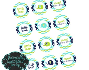 Elephant Baby Shower or 1st Birthday Printable Cupake Toppers, Party Tags, or Stickers - Instant Download