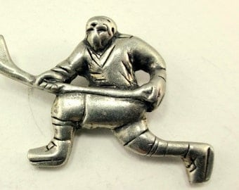 hockey player lapel pin