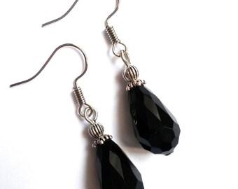 Black Earrings Dangle Earrings Black Jewelry Crystal Earrings Black Crystal Crystal Earrings