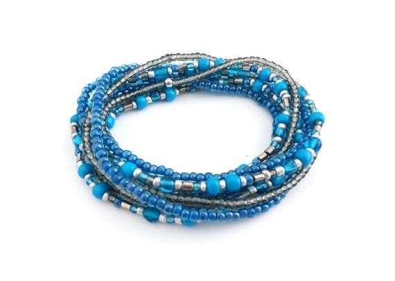 beaded wrap bracelet blue bracelet multi strand seed bead